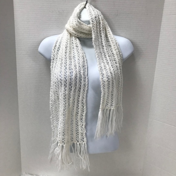 Accessories White Crochet Scarf Wrap Lightweight Fringe Ends